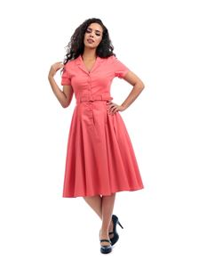 Collectif Linen Feel Shirtwaister In Coral Dress