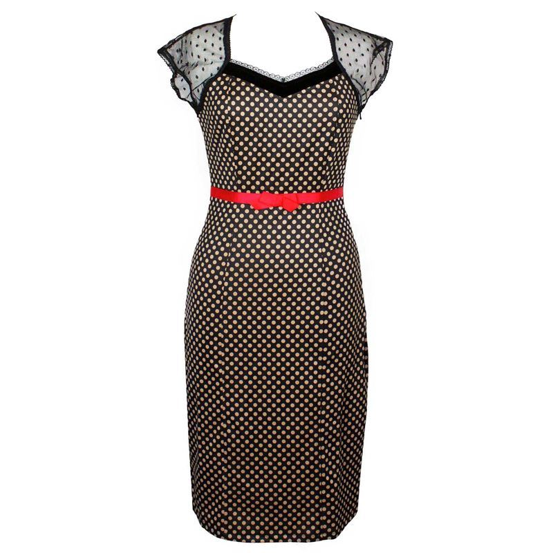 Friday On My Mind 50s Inspired Polka Dot With Black Lace Wiggle Dress