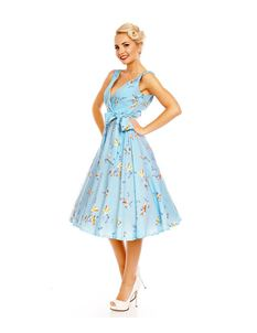Clarence and Alabama Baby Blue Swallow Swing Dress
