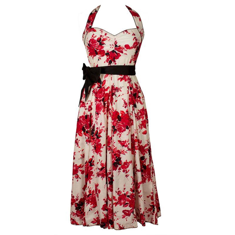 Eucalyptus Floral Halter Neck 50s Style Red Floral Dress