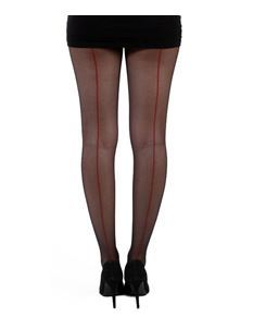 Pamela Mann Jive Seamed Black/Red Tights