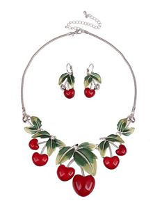 Gas Axe Inc Cherry Earrings And Necklace Set