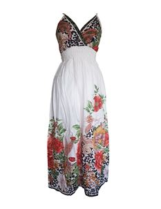 Summer Maxi Length Floral White Black Dress