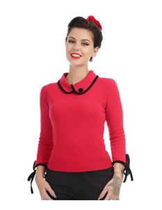 Collectif 40s Vintage Style Red And Black Nikki Jumper