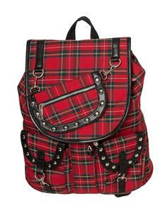 Banned Alternative Yamy Red Tartan Backpack Rucksack