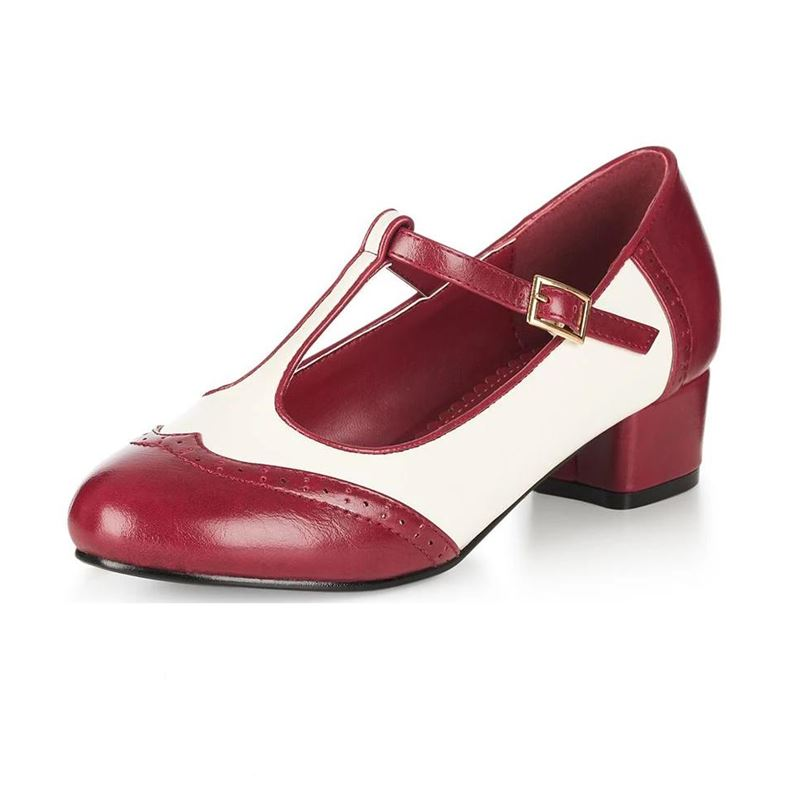 Collectif Georgia Mary Jane 40s T-Bar Shoes Burgundy