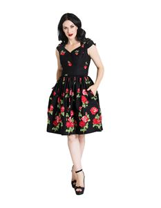 Hell Bunny Antonia Vintage Style Mid Rose Floral Dress