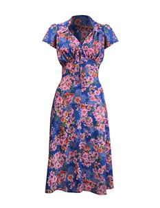 Pretty Retro 40s Style Blue Pink Floral Tea Dress