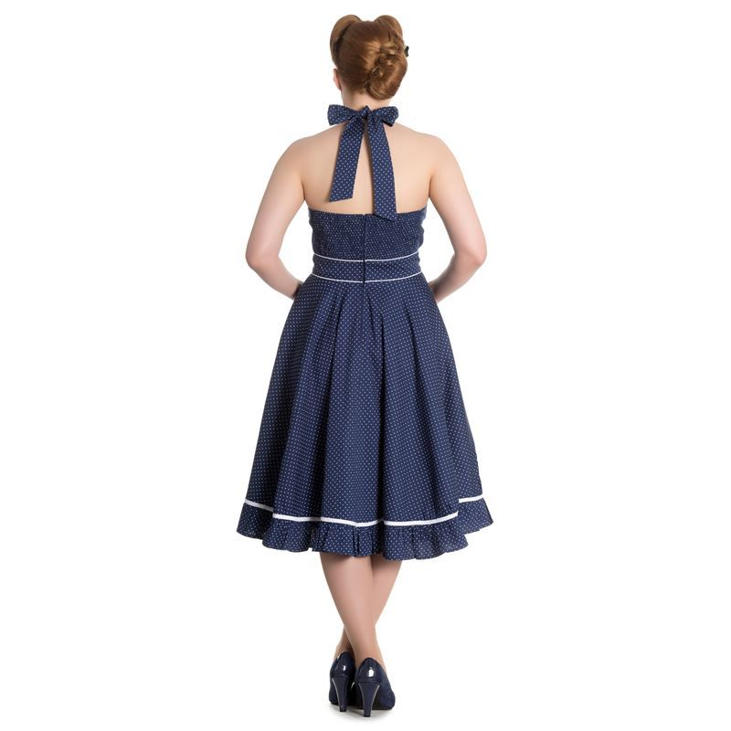 Hell Bunny Vanity 50s Polka Dot Rockabilly Halterneck Dress Navy Blue