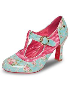 Joe Browns Chintz Turquoise Pink Foral T-Bar Shoes