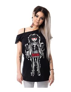 Cupcake Cult Dead Inside Off Shoulder Black Tee T-Shirt
