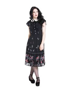 Hell Bunny Butterfly Vintage 40s Chiffon Floral Dress