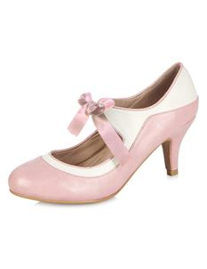Collectif Jeanie 50s Pink White High Heeled Shoes