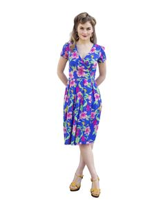 Eucalyptus 40s Inspired Floral Print Blue Wrap Dress
