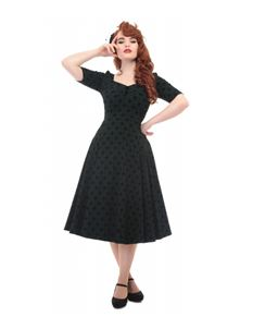 Collectif Dolores 50s Style Doll Half Sleeve Dark Green Brocade Dress