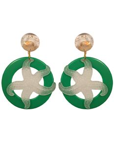 Midcentury Missy 1960s Green Starfish Hoop Earrings