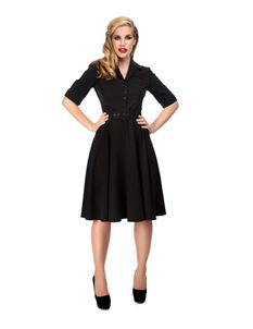 Collectif 40s & 50s Style Zoe Black Swing Dress