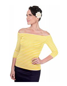 Dolly & Dotty Gloria Yellow Striped Bardot Top