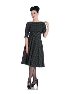 Hell Bunny Pebbles 50s Green Tartan Dress
