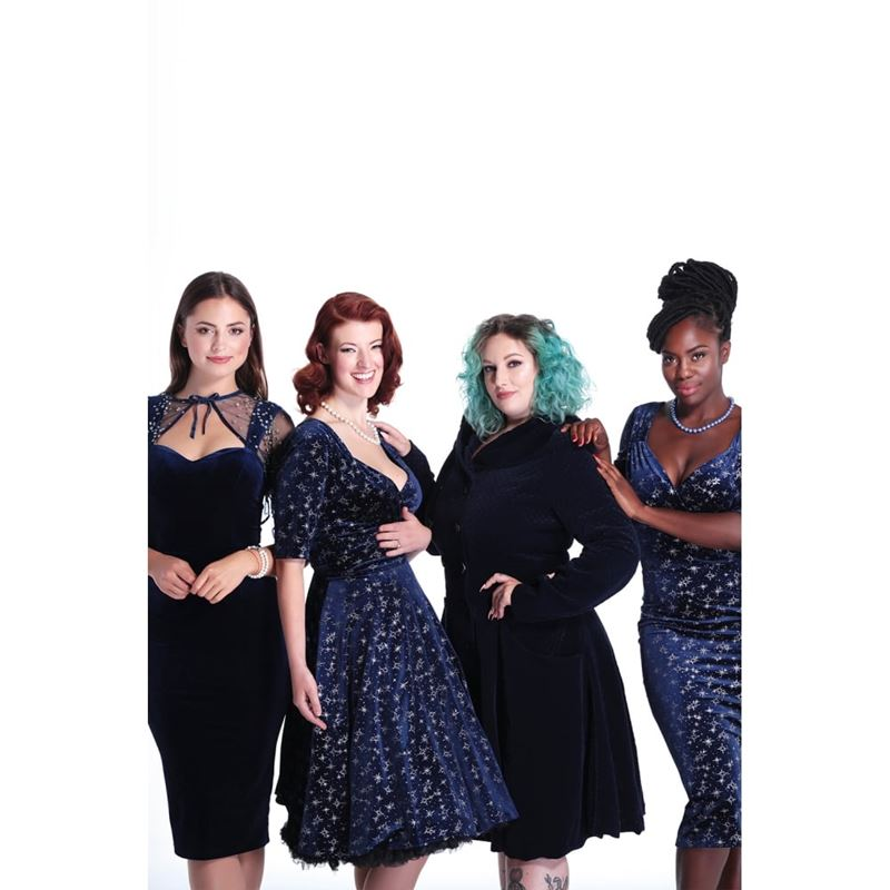 Collectif Dolores Navy Blue Half Sleeve Pencil Dress