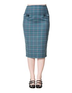 Dancing Days Maddy Pencil Skirt In Teal Tartan