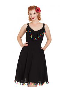 Voodoo Vixen Veronica Black Flared Tassel Summer Dress