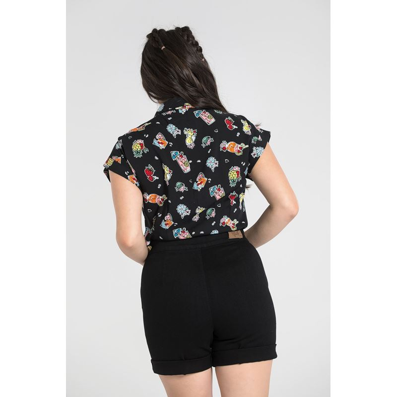 Hell Bunny Pina Colada 50s Rockabilly Shirt Top