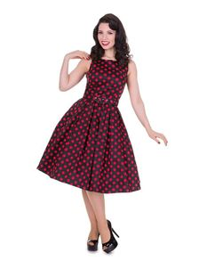 Dolly & Dotty Black & Red Polka Dot 50's Annie Swing Dress 8-24