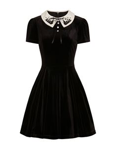 Hell Bunny Graveyard Bat Velvet Mini Alternative Dress