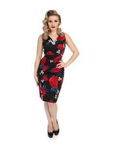 Hearts & Roses 50 Black Retro's Red Floral Wiggle Dress