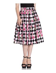 Hell Bunny Harlequin Floral 50s Style Pleated Skirt