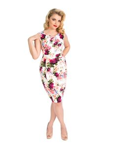 Hearts And Roses 50s White Vintage Rose Pencil Dress