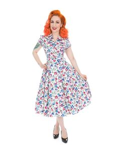 Hearts And Roses 40s WWII Poppy White Floral Tea Dress