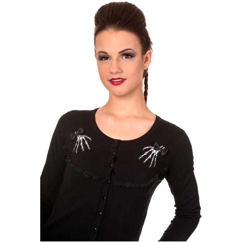 Banned Renegades Skeleton Hand Goth Black Cardigan