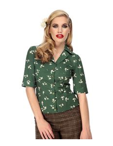 Collectif Aubrey 40s Style Green Floral Crepe Blouse