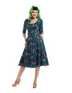 Collectif June Pink Flamingo Teal 50s Swing Dress