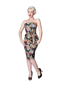 UK 10 & 18 only Vanity Project 50's Peacock Floral Strapless Dress