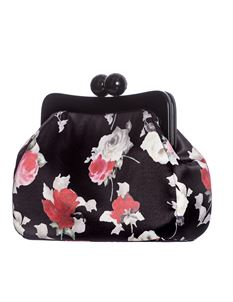 Hell Bunny Rosemary Floral Rose Satin Clutch Bag