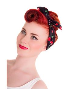 Hell Bunny 50s Leopard Cherry Hair Tie Head Scarf