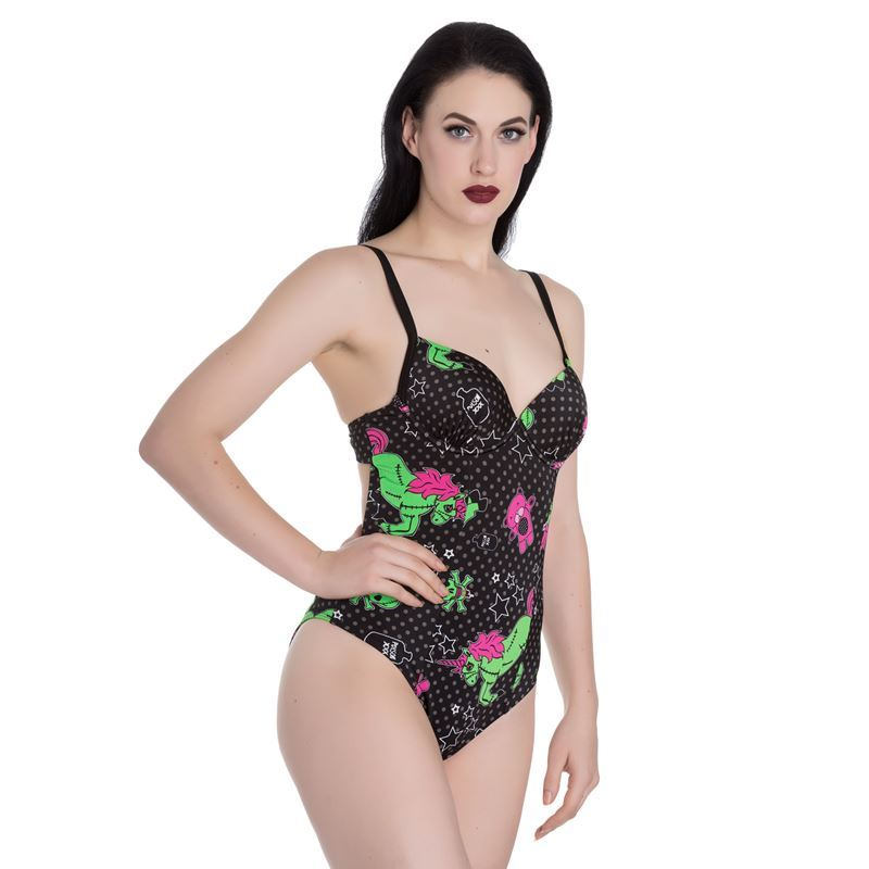 Hell Bunny I Heart Zombie Polka Dot Swimsuit Black
