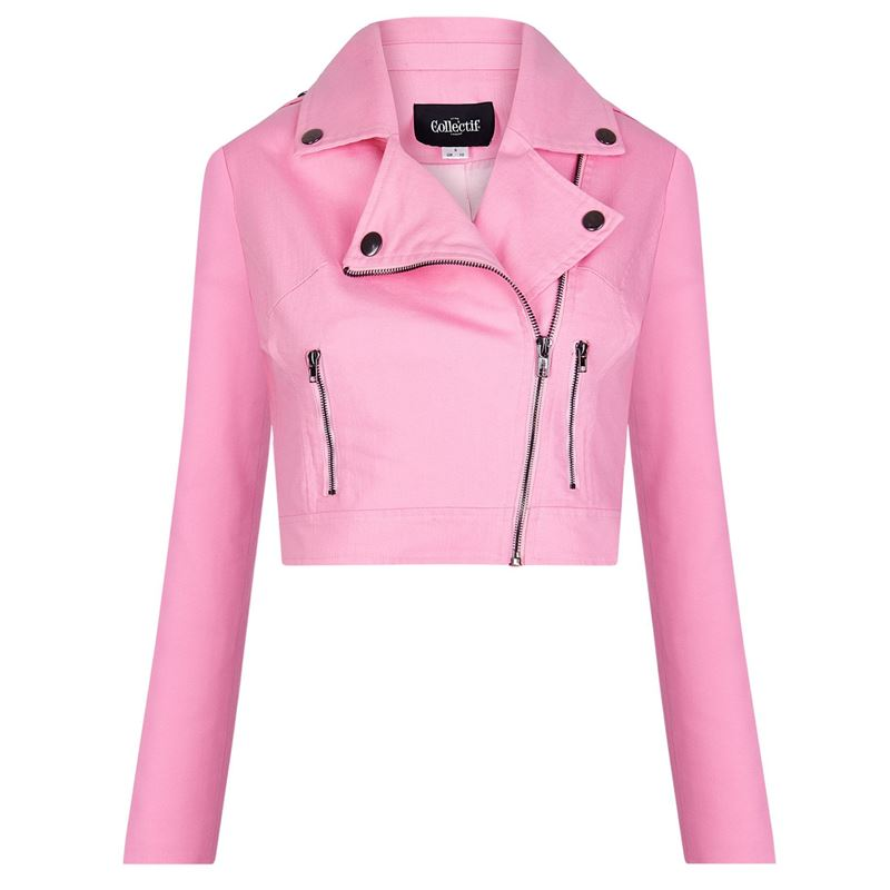 Collectif Outlaw Plain Pink Ladies Biker Denim Jacket