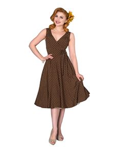 Sheen Emma Polka Dot 50s Style Brown Dress