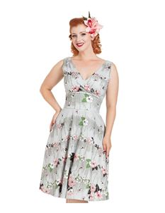 Voodoo Vixen Joan Silver Grey Floral Rain Flared Dress