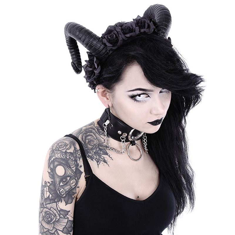 Restyle Sinister Roses Horns Headband Gothic Headpiece