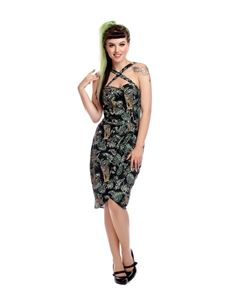 Collectif Mahina Jungle Black Sarong Dress