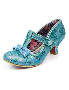 Irregular Choice Lazy River Blue Gold Glitter Low Heels