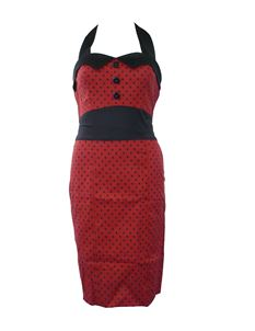 H&R London 50's Pencil Wiggle Dress Polka Dot Red