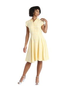 Hell Bunny Joy 50s Summer Mid Short Yellow Check Dress