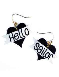 Guns N Posies Hello Sailor Heart Earrings
