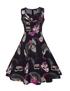 Foxy Roxy Retro Vintage Mask Black Swing Dress UK 18-20